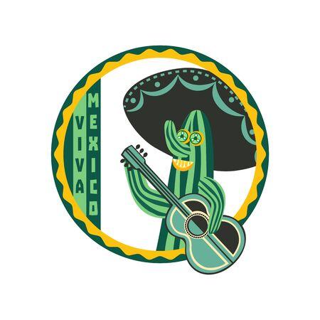 Viva Mexico badge Illustration
