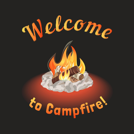 crackling: Campfire icon. Freehand drawn cartoon style. Fancy letters of welcome invitation. Base camp fire rocks ring. Wood logs burning in flame. Outdoor Campsite sign. Camping advertising banner background