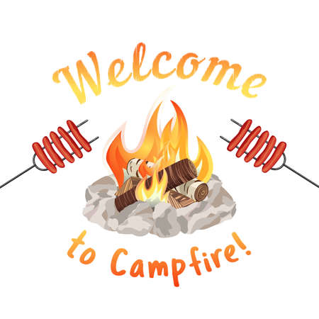 crackling: Campfire icon concept Illustration