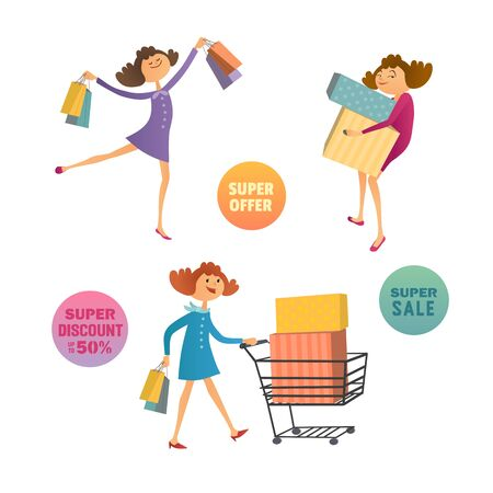 Happy consumers concept. Hand drawn shoppers cartoon style. Smiling shopping girls with bags and cart isolated on white. Design element of marketing consumer product sale banner. Vector illustration