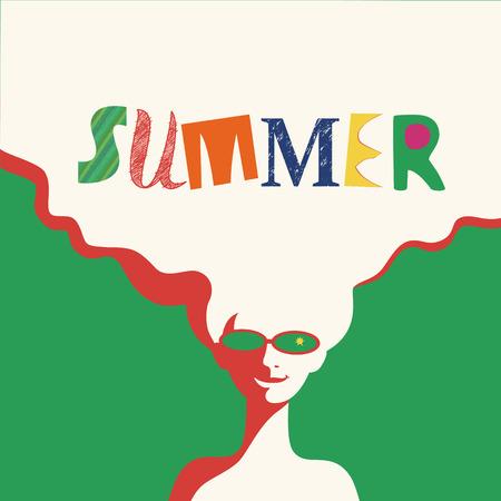 여름 시간 개념입니다. 손으로 그려진 멋진 편지 제목입니다. 팝 아트 스타일에서 복고풍 포스터입니다. 해변 시즌 재미 휴식. 금발 소녀. 선글라스에