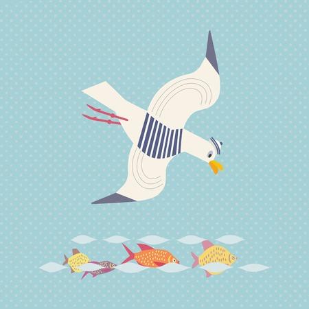 귀여운 갈매기 아이콘 일러스트