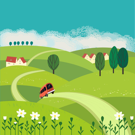 greenery: Green landscape. Freehand drawn cartoon outdoors style. Farm houses, country winding road on meadows, fields. Rural community. Sunny day, blue sky, hills. Vector village countryside scene background