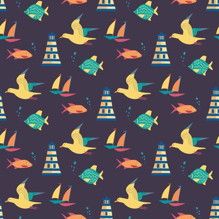navy blue background: Maritime icons pattern