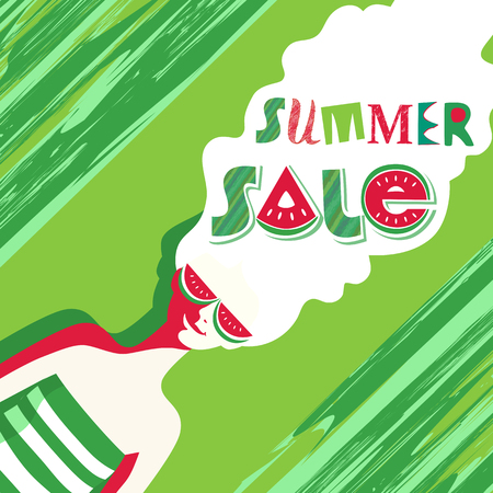Summer sale Concept. Special bonus poster. Design element of discount campaign off price banner. Promotion of season offer in fun colorful cartoon style. Vector illustration idea to advertise hot deal Illustration