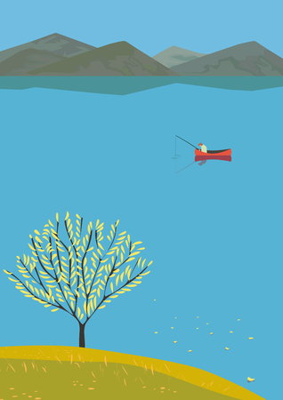 Mountain green valley landscape.Autumn season lake scenic view poster.Fisherman on calm river in Alps mountains. Leaf fall on water. Freehand cartoon retro style. Vector countryside outdoor background Illustration