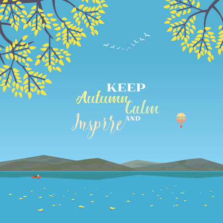 Mountain green valley landscape. Keep Autumn Calm and Inspire poster. Fisherman on plain river in mountains. Leaf fall on water. Freehand cartoon retro style. Vector countryside outdoor background