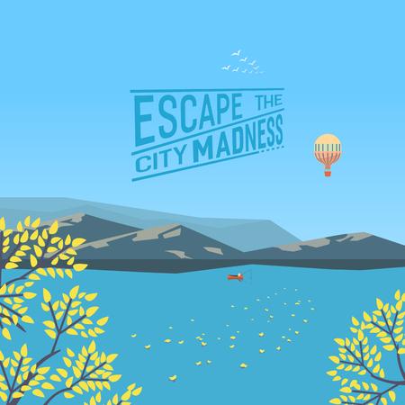 Escape the city madness autumn lake landscape Illustration