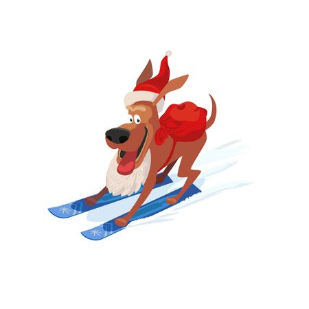 Skiing cute dog icon. Domestic pet on mountain ski in Santa hat. Vector cartoon animal isolated on white. Template for winter season greeting card. Design idea for advertisement fun banner background