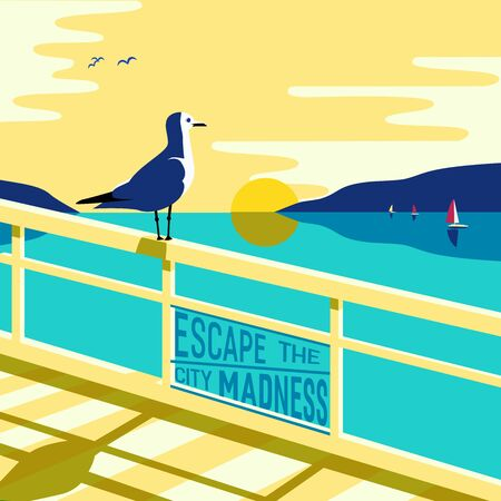 madness: Nautical poster concept with blue sea scenic view and Escape the city madness inscription.