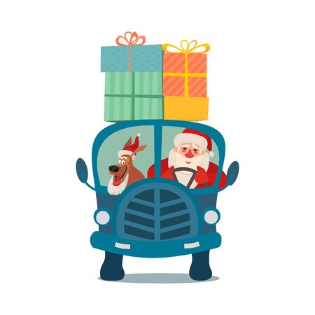 Cute dog with Santa Claus driving bus with gifts.