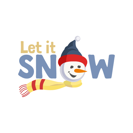 Holiday wishes Let it Snow vector illustration.