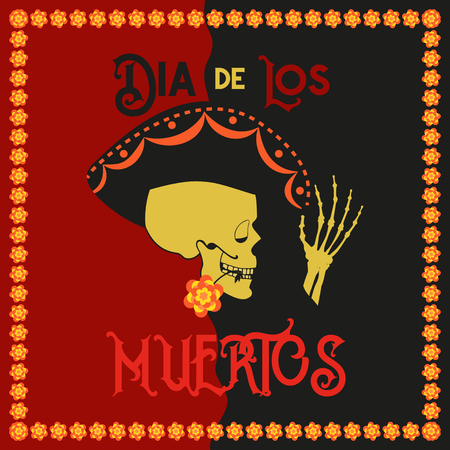 Day of the Dead poster vector illustration. Illustration