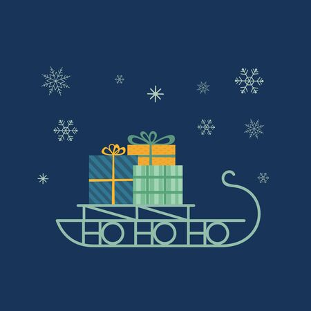 Santa Sleigh icon. Christmas snow sledge with gifts present boxes. Flat simple minimal style in retro colors. Design element for winter holiday season new year event, greeting. Vector illustration