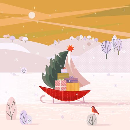 Christmas sailboat on sleigh with fir tree, gifts present boxes sliding on frozen river in snowy mountain valley. Colorful cartoon. Design for winter holiday season new year event. Vector illustration