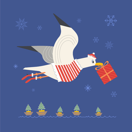 Cute seagull with gift Illustration
