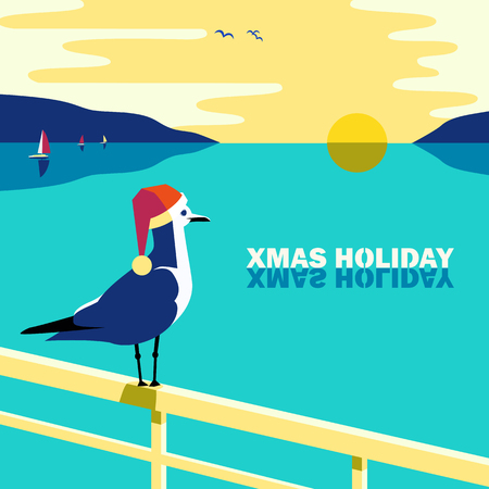 Winter holiday vacation concept. Retro poster in pop art style. Christmas season fun and rest. Seagull in Santa hat on blue calm sea coast. Vector new year tourist trips relax advertisement background
