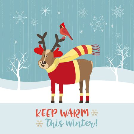 Fancy seasonal poster. Cute deer in clothes for cold frozen weather. Reindeer, red northern cardinal. Colorful playful cartoon. Vector winter holiday greeting card. New Year eve fun banner background 向量圖像