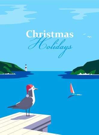 Winter holiday vacation concept. Retro poster in pop art style. Christmas season fun and rest. Seagull in Santa hat on blue calm sea coast. Vector new year tourist trips relax advertisement background Vektorové ilustrace