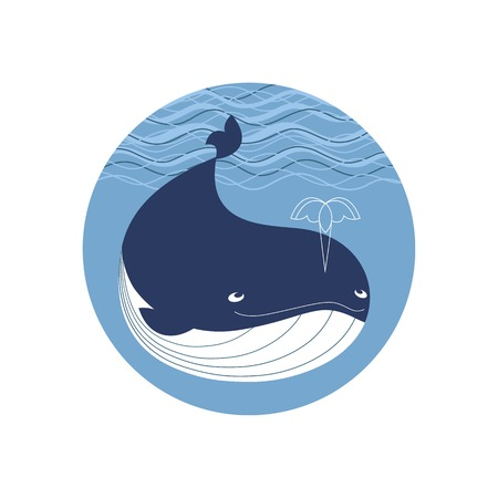 Blue whale icon. Cute cartoon sign. Powerful and dynamic ocean marmals. Wildlife underwater sea symbol. Design for save wahles sticker, nautical background. Vector oceanic animal watching funny emblem Illustration