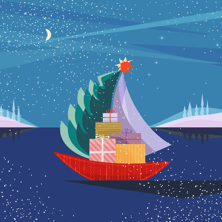 Christmas sailboat sailing by sea with fir tree, gifts present boxes. Fun boat on lake in snowy mountain valley. Colorful cute cartoon. Vector design for winter holiday season new year event
