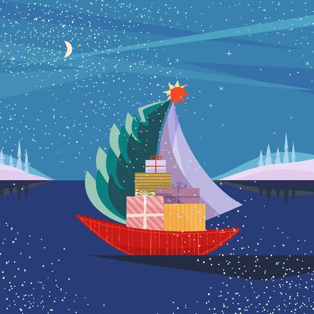 Velero de la Navidad que navega por el mar con el árbol de abeto, regalos cajas presentes. Barco de la diversión en el lago en el valle nevado de la montaña. Colorida caricatura linda. Diseño vectorial para evento de año nuevo de temporada de vacaciones de invierno