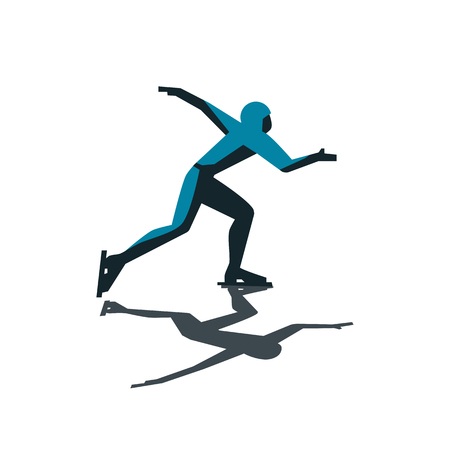 Abstract ice speed skater icon. Illustration