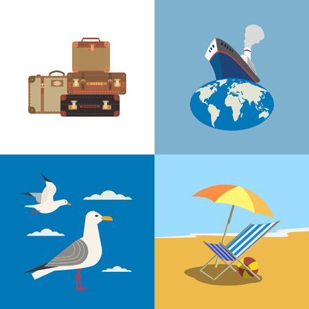 Travel icons set. Ocean liner, tourist luggage, seashore relax cartoon sign. Maritime sea cruise ship vessel tour emblems. Vector journey advertisement label background. Vacation trip promo template