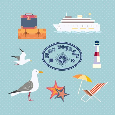Set of cruise trip icons in colored  illustration which can be used for sticker, stamp, scrapbooking.