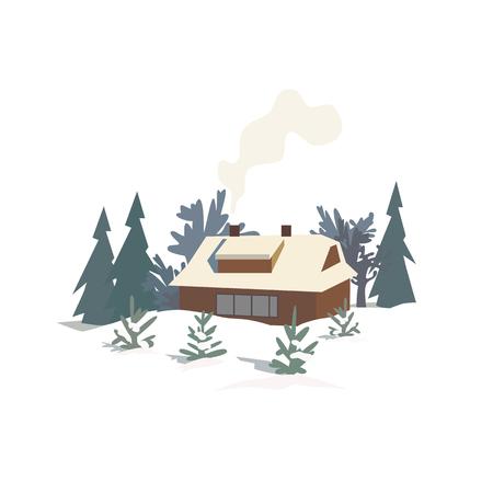 Rural house in snowy wood