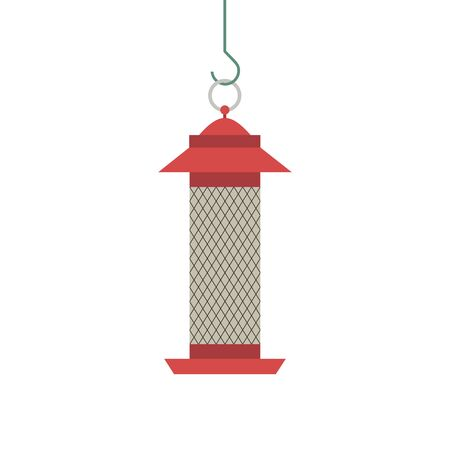 Bird feeder icon isolated on white. Feeding box for food sunflower seeds, nuts to feed birds in winter season. Flat cartoon minimalism simplicity design. Template background. Vector illustration