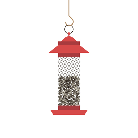Bird feeder with whole sunflower seeds icon isolated on white. Flat cartoon minimalism simplicity design. Food for birds. Feeding by seed in winter season. Template background. Vector illustration
