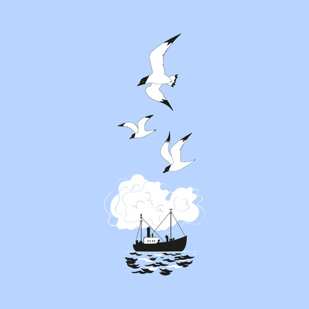 Commercial fishing trawler icon. Ship silhouette on the sea waves. Side view. Fishermen boat on the ocean. Industrial vessel. Seagulls flying. Flat simplicity minimalism design. Vector illustration.