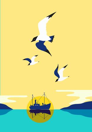 Ship silhouette in ocean.