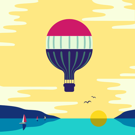 Hot air balloon in the cloudy sky under sea.