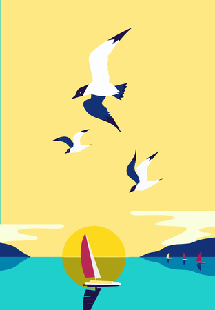 Ship silhouette in ocean. Yacht boat on sea water. Sailing nautical leisure sport. Seagulls fly in sky. Sailboat maritime sign. Pop art style. Flat simplicity minimalism design. Vector illustration.