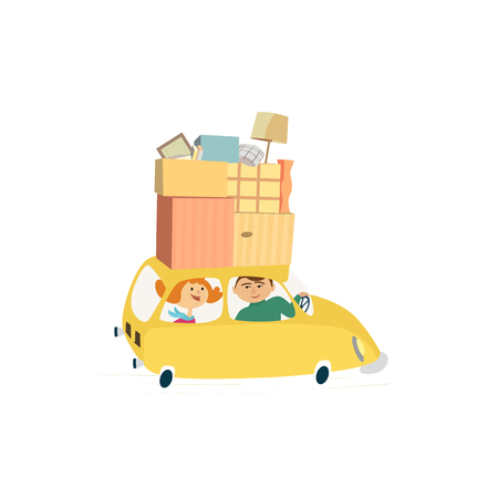 Home change concept. Young happy couple move to new house, drive car with moving cardboard boxes. Relocation to apartment, delivery vehicle. Cute fancy cartoon background design.