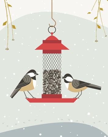 Cute black capped chickadee bird poster. Comic flat cartoon. Minimalism simplicity design. Winter birds feeding by sunflower seeds in feeder. Template birdwatching card background. Vector illustration