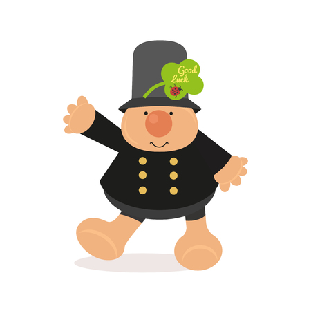 Chimney sweep icon. Cute comic cartoon flat style. Good luck wish on green shamrock clover leaf. Ladybug sign. Fancy fortune symbol. Kids toy fun design. Greeting card vector background illustration Vettoriali