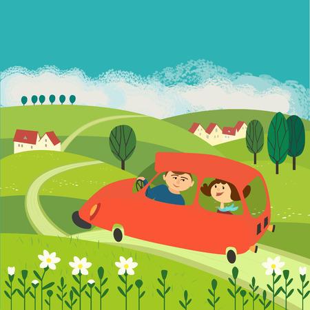 田舎道での旅  イラスト・ベクター素材