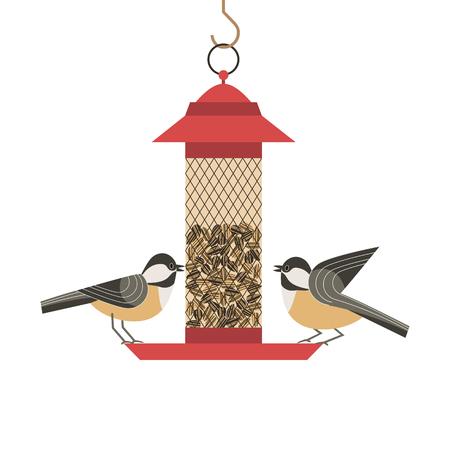 Bird feeding poster on white