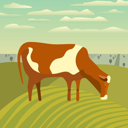 Nature outdoor valley landscape. Cartoon simple minimalism design. Farming brown cow on meadow. Rural scene view with domestic cattle mammal on green grass hill, field. Vector countryside illustration