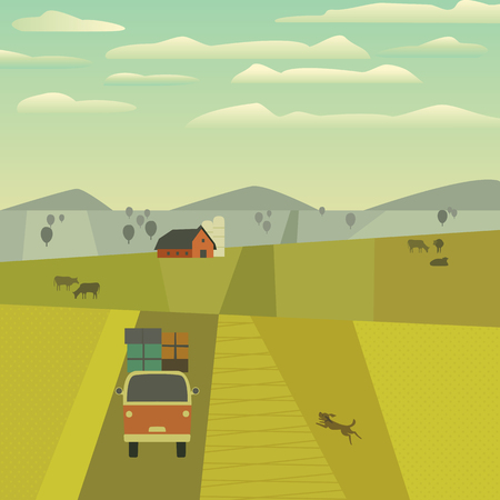 Green valley landscape. Freehand drawn cartoon outdoors retro style. Farm house, country road on meadows, fields. Rural community. Farming cows on  hills. Vector village countryside scene background