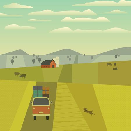 Groen valleilandschap. Uit de vrije hand getrokken beeldverhaal in openlucht retro stijl. Boerderij, landweg op weiden, velden. Landelijke gemeenschap. Koeien op heuvels bewerken. Vector dorp scène scène achtergrond