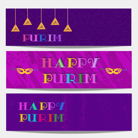 Happy Purim celebration. Set of horizontal banners. Freehand cartoon fancy style. Masquerade mask, family holiday symbols. Template carnival invitation greeting. Vector headline decoration background
