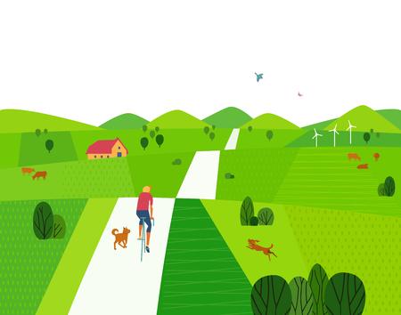 緑の夏の風景。ベクトルイラスト。  イラスト・ベクター素材