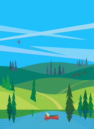 Green summer landscape with blue sky. Vector illustration.