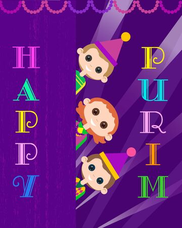 Happy Purim celebration. Cartoon fancy letters style. Comic kids in masquerade costumes holiday symbol. Carnival invitation. Family fest party greeting card. Vector decorative background illustration