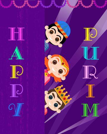 Gelukkig Purim-feest. Cartoon mooie letters stijl. Komische kinderen in vakantie symbool van maskerade kostuums. Carnaval uitnodiging. Familie fest partij wenskaart. Vector decoratieve achtergrond afbeelding.