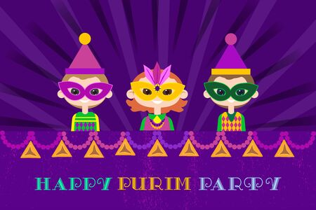 Happy Purim celebration. Cartoon fancy letters style. Comic kids in masquerade costumes holiday symbol. Carnival invitation. Family fest party greeting card. Vector decorative background illustration.